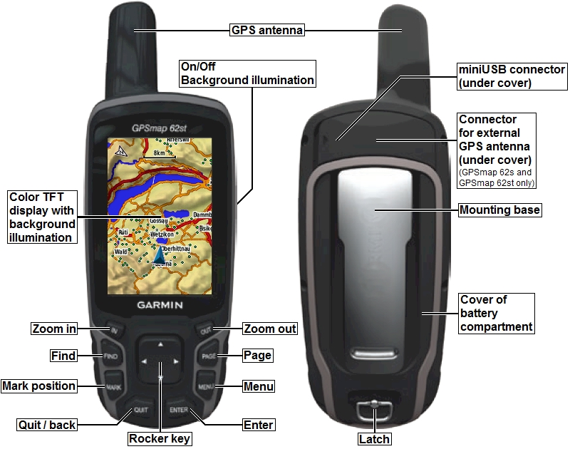 Garmin GPSMAP 62st Technical Specifications