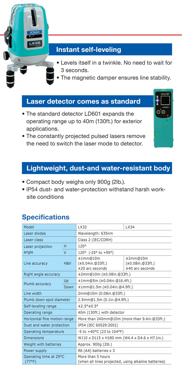 Sokkia Crossline Laser LX-32-34 Features