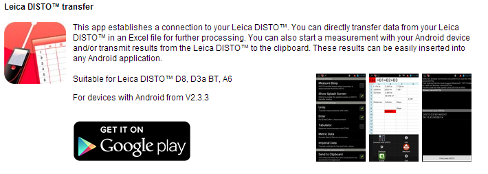 Download Leica Disto Transfer App from Google Play