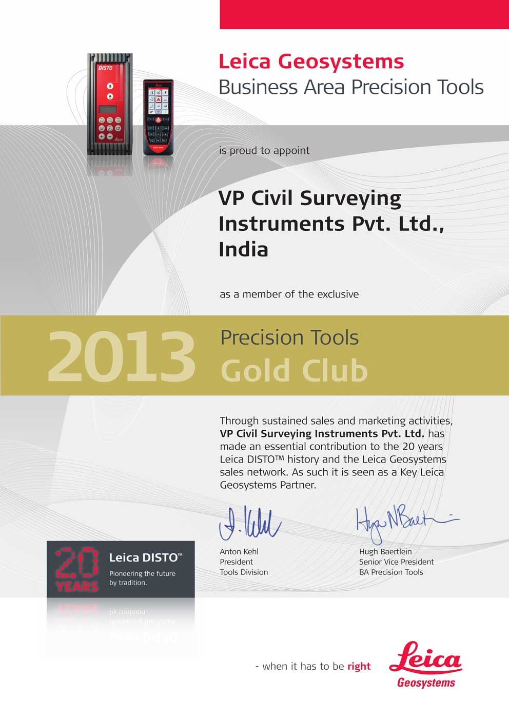 VP Civil Leica Precison Tools Gold Club
