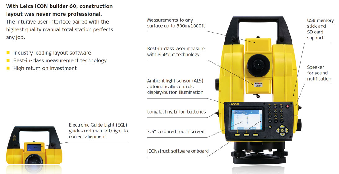Leica iCON Builder 62 Total Station Features
